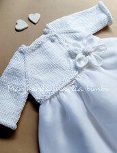 Coprispalle/scaldacuore/golfino neonata/bambina - cotone bianco - Battesimo - fatto a mano