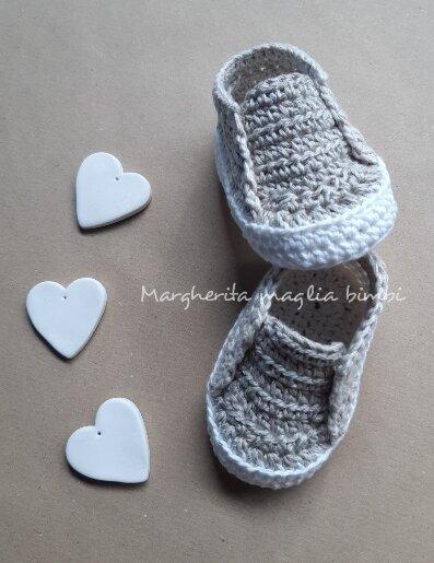 Scarpine neonato/bambino in lino e cotone - Battesimo - fatte a mano - uncinetto