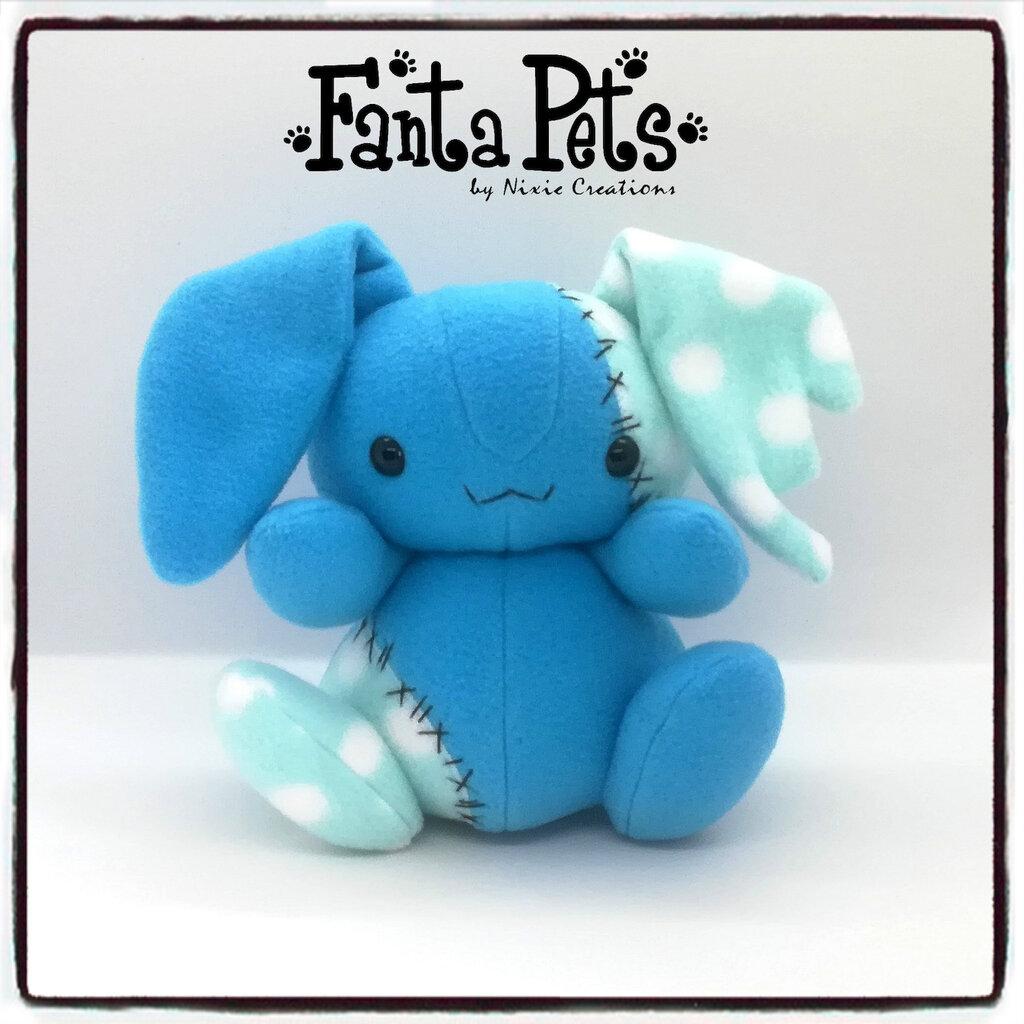Pupazzo Lunar Bunny Azzurro - Fanta Pets by Nixie Creations