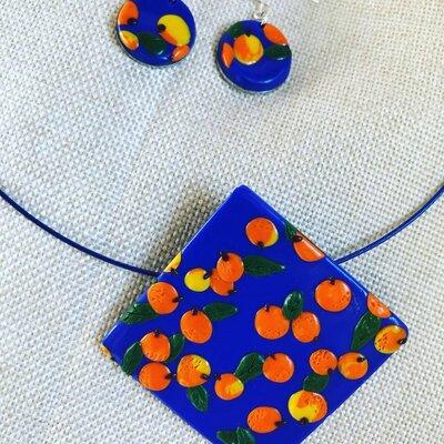 Collana e orecchini in fimo fantasia arance