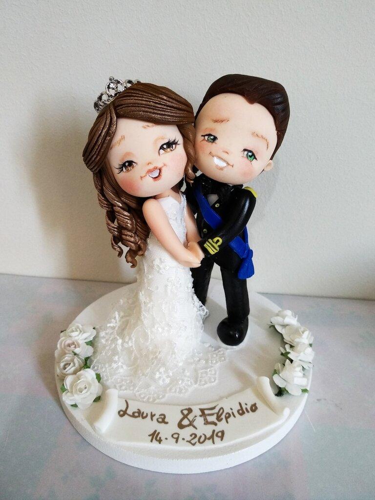 Cake topper sposi personalizzati stile cartoon