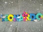 Banner baby squalo nome di lettere imbottite personalizzato