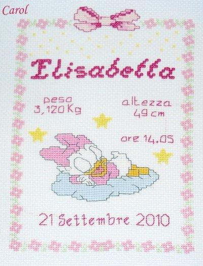 """Quadretto nascita - fiocco nascita - """"Baby Paperina"""" -punto croce- B15"""