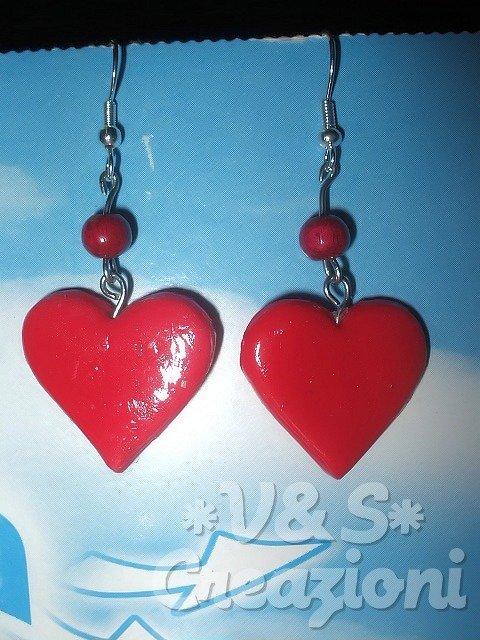 Orecchini cuore rosso in fimo
