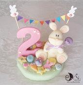 Cake topper tea party coniglietti e dolcetti compleanno e bandierine personalizzabile