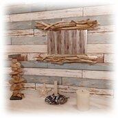 Specchio NAKED con legni di mare, driftwood