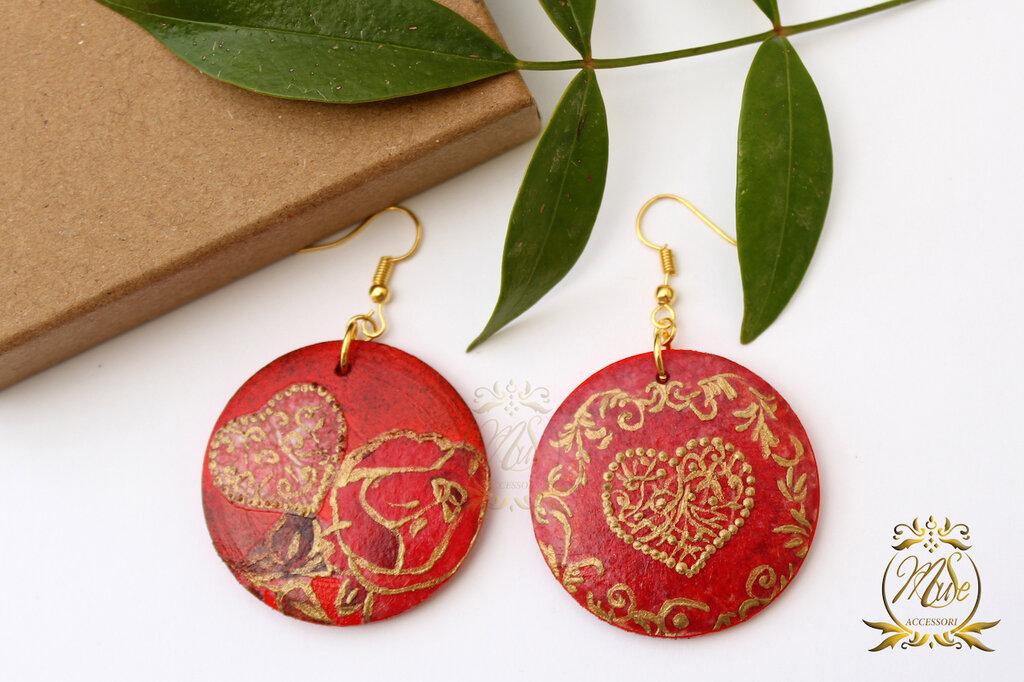 Orecchini in legno, orecchini rossi, orecchini