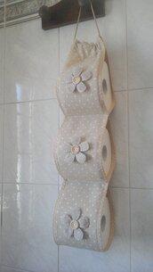 Porta rotoli Carta igienica di stoffa, portarotolo cartaigienica di stoffa fatto a mano in beige con fiori decorativi