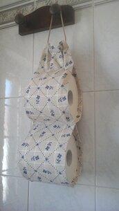 Porta rotoli Carta igienica di stoffa, portarotoli cartaigienica di stoffa fatto a mano in beige e blu per 2 rotoli
