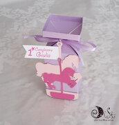 portaconfetti scatolina carosello giostra dei cavalli compleanno bimba