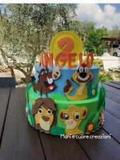 Torta scenografica in gomma eva- Re leone personalizzata