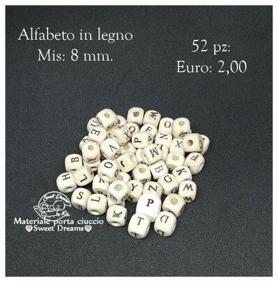 Lotto 52 pezzi lettere alfabeto in legno 8 mm.