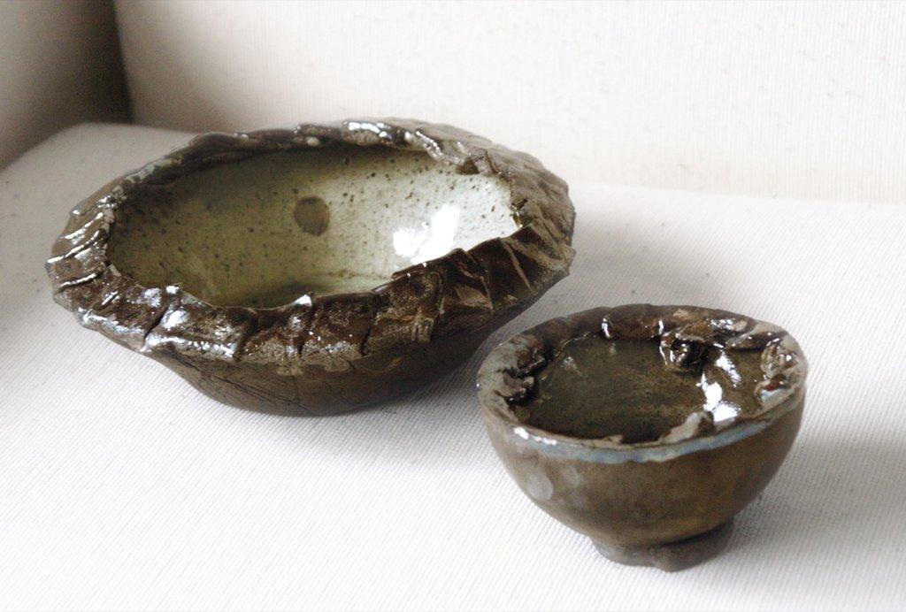 Coppia di ciotole raku oro bruno