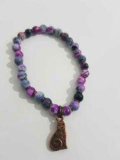 Bracciale in sodalite viola e rame con gattino decorativo