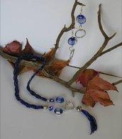 parure collana treccia blu e orecchini