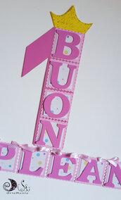 Festone banner name allestimento tavolo sweet table primo compleanno personalizzabile bimba