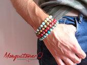 Bracciale uomo ragazzo con perle pietra dura o Amazzonite, idea regalo per lui, minimal,stile etnico