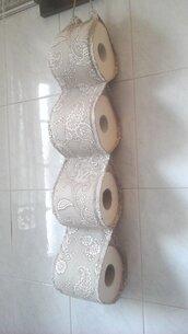 Porta rotoli Carta igienica di stoffa, portarotolo cartaigienica di stoffa fatto a mano in beige per 4 rotoli
