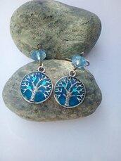 Orecchini albero della vita blu
