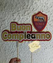 Cake topper, deocrazione festa. as roma., juventus. calcio lazio. decorazione torta