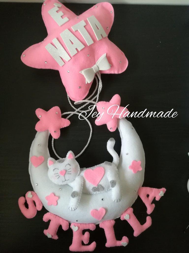 Fiocco nascita coccarda pannolenci feltro gatto gattino bebè neonato neonata stella luna nome è nata