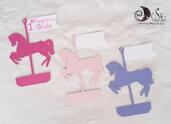 etichette compleanno carosello giostra dei cavalli segnaposto personalizzabile