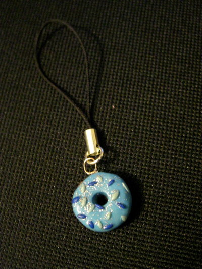phone charm blue doughnut