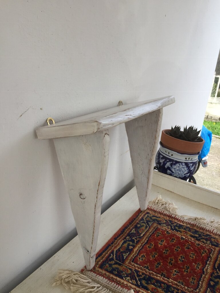 Mensola bianca in legno di reciclo