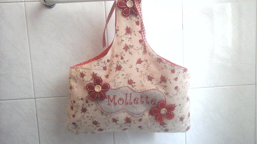 Porta mollette del bucato, porta pinze per stendere i panni, in beige e rosso con fiori