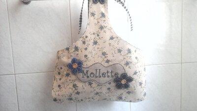 Porta mollette del bucato, porta pinze per stendere i panni, in beige e blu con fiori