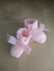 Scarpine ai ferri neonata lana rosa regalo nascita battesimo bambina fiocco rosa scarpette neonata