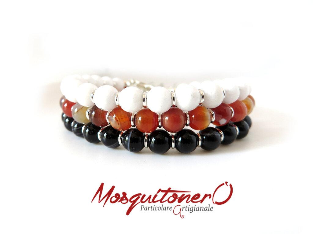 Bracciale artigianale da uomo con perle pietra in Corniola rossa,Agata nera o Corallo bianco,stile semplice ed elegante