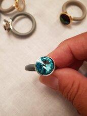 Anello in caucciù con Swarovski (si possono portare più anelli uno sopra l'altro)