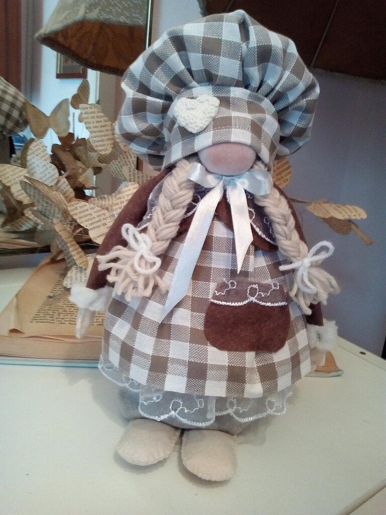 """GNOMO """" CUOCA"""" cappello quadri bianchi e marrone"""
