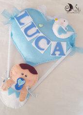 fiocco nascita mongolfiera cuore bebè con uccellino e nome personalizzato per bimbo