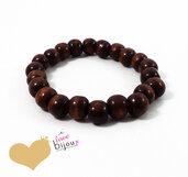 Bracciale Perle Legno 10x9mm Marrone Buddista Buddha Mala Surf braccialetto Uomo Donna Elastico