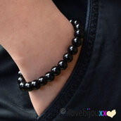 Bracciale Nero Perle 6mm nere lucide palline sfere braccialetto Elastico idea regalo moda Uomo Donna