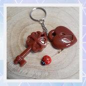 Portachiavi in resina a forma di chiave e lucchetto
