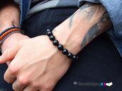 Bracciale NERO Perle lucide 8mm braccialetto palline nere Uomo Donna elastico