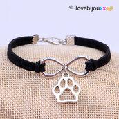 Bracciale Infinito + Zampa Cane Gatto Amicizia Ciondolo argento braccialetto Uomo Donna