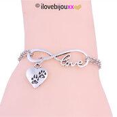 Bracciale INFINITO Love + CUORE ZAMPA cane gatto Ciondolo Amore Argento braccialetto Uomo Donna
