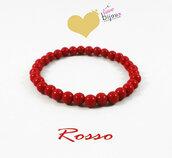 Bracciale Rosso Perle 6mm rosse Uomo Donna braccialetto Elastico idea regalo Natale Capodanno Portafortuna