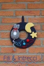 Coccarda / decorazione parete / fuoriporta con gatto all'uncinetto fatto a mano