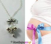 Collana lunga CHIAMA ANGELI argento con ciondolo FIOCCO + CIUCCIO Mamma Donna incinta Portafortuna