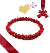 Bracciale Rosso Perle 6mm Uomo Donna idea regalo Natale Capodanno Portafortuna braccialetto Elastico
