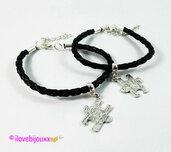 COPPIA bracciale PUZZLE argento Cuoio intrecciato Nero braccialetto Uomo Donna Amore Amicizia