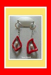 orecchini corallo  rosso e argento