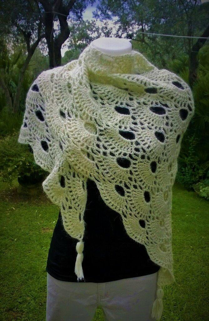 a basso prezzo diversamente ben noto grande scialle in lana con lurex uncinetto punto virus