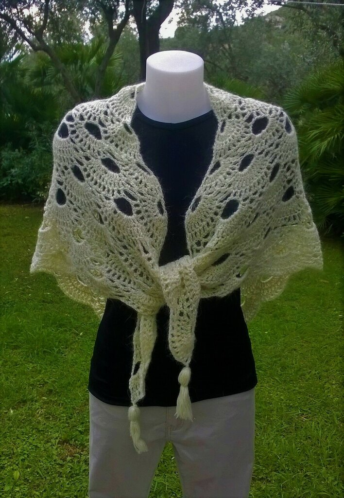 grande scialle in lana con lurex uncinetto punto virus
