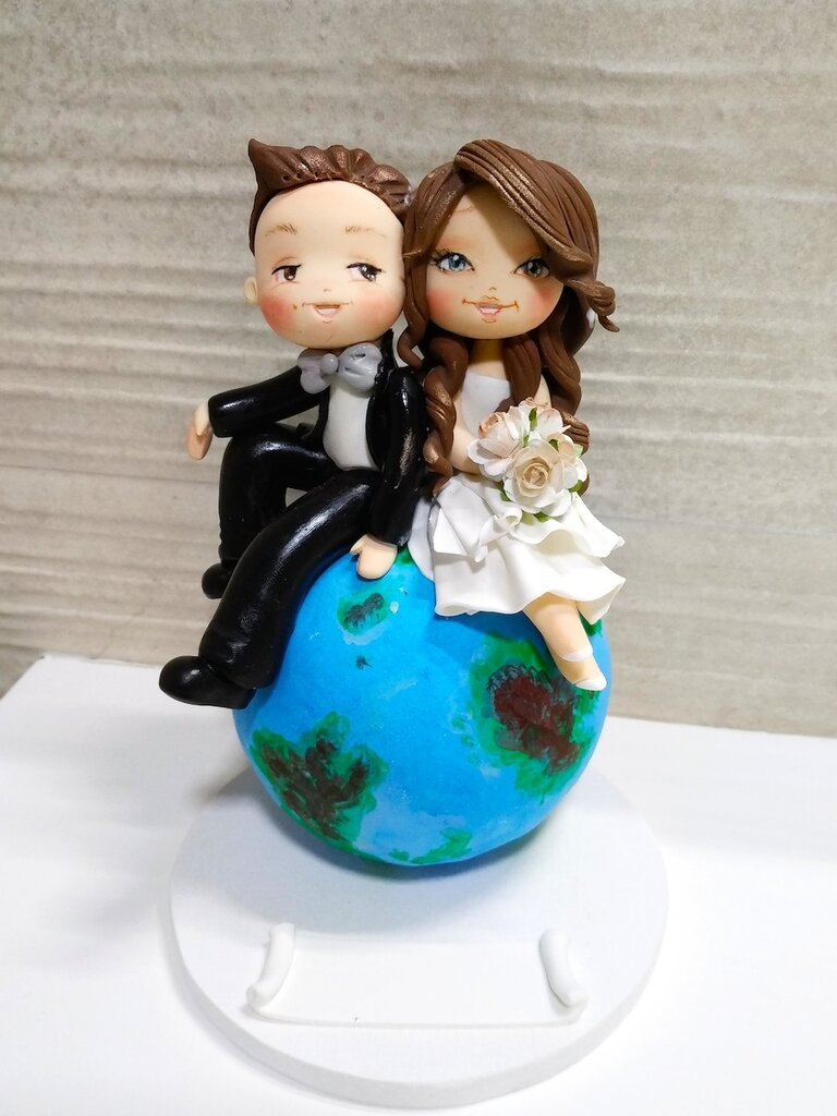 Cake topper matrimonio sposi su mappamondo